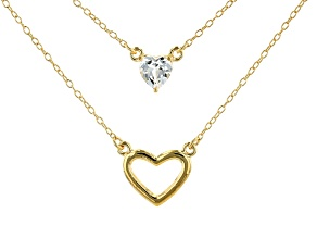 White Lab Created Sapphire 18k Yellow Gold Over Sterling Silver Heart Shaped Necklace .50ctw