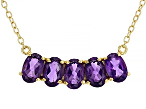 Purple African Amethyst 18K Yellow Gold Over Sterling Silver Necklace. 1.76ctw