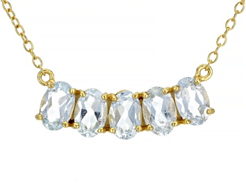 Picture of Sky Blue Topaz 18K Yellow Gold Over Sterling Silver Necklace. 2.14ctw