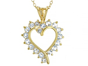 Sky Blue Topaz 18K Yellow Gold Over Sterling Silver Pendant With Chain. 1.05ctw