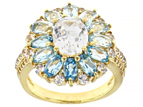 White Lab Created Sapphire 18K Yellow Gold Over Sterling Silver Ring. 5.18ctw