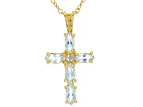 Sky Blue Topaz with Diamond Accent 18K Yellow Gold Over Sterling Silver Pendant with Chain. 0.63ctw