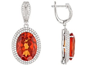 Orange Lab Created Padparadscha Sapphire Rhodium Over Sterling Silver Earrings 29.85ctw
