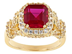Red Lab Created Ruby 18k Yellow Gold Over Sterling Silver Ring 3.64ctw