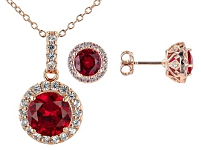 Red Lab Created Ruby 18k Rose Gold Over Silver Pendant With Chain & Earring Set 4.25ctw