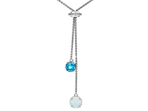 Swiss Blue Topaz Rhodium Over Sterling Silver Necklace. 1.38ctw