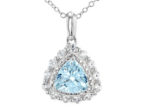 Sky Blue Topaz Rhodium Over Sterling Silver Pendant with Chain. 2.08ctw