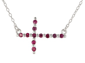 Red Lab Created Ruby Rhodium Over Sterling Silver Cross Necklace .17ctw