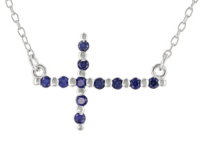 Blue Lab Created Sapphire Rhodium Over Sterling Silver Cross Necklace .18ctw