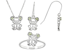 Peridot Rhodium Over Sterling Silver Pendant, Ring, and Earring Children's Set. 0.31ctw