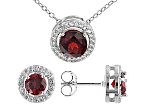 Red Garnet Rhodium Over Sterling Silver Pendant and Earring Set. 2.22ctw
