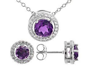 Purple African Amethyst Rhodium Over Sterling Silver Pendant and Earring Set. 1.75ctw