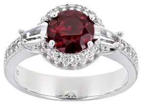 Red Lab Created Ruby Rhodium Over Sterling Silver Ring 2.05ctw