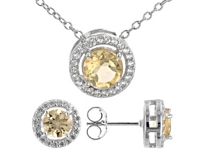 Yellow Citrine Rhodium Over Sterling Silver Pendant and Earring Set. 1.68ctw