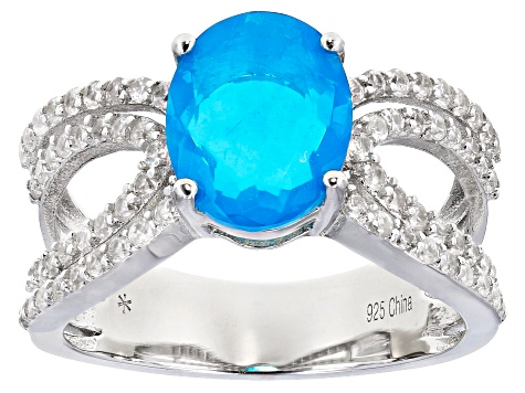 Blue Opal Rhodium Over Sterling Silver Ring 1.85ctw