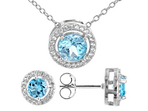 Swiss Blue Topaz Rhodium Over Sterling Silver Pendant and Earring Set. 2.04ctw