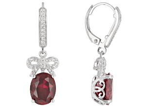 Red Lab Created Ruby Rhodium Over Sterling Silver Dangle Earrings 5.44ctw