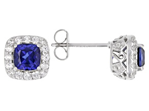 Blue Lab Created Sapphire Rhodium Over Sterling Silver Stud Earrings 1.74ctw
