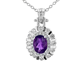 Purple African Amethyst Rhodium Over Sterling Silver Pendant with Chain. 1.78ctw