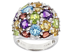 Citrine And Multi Gemstone Rhodium Over Sterling Silver Ring. 6.56ctw