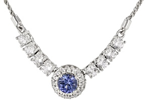 Blue Lab Created Sapphire Rhodium Over Sterling Silver Bolo Necklace 1.66ctw
