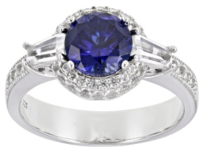 Blue Lab Created Sapphire Rhodium Over Sterling Silver Ring 2.05ctw