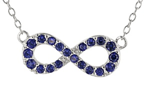 Blue Lab Created Sapphire Rhodium Over Sterling Silver Infinity Necklace .39ctw