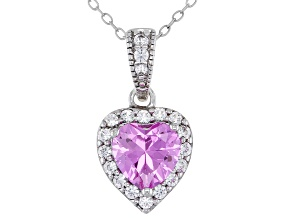 Pink Lab Created Sapphire Rhodium Over Sterling Silver Pendant with Chain. 1.52ctw