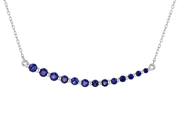 Picture of Blue Lab Created Sapphire Rhodium Over Sterling Silver Necklace .95ctw