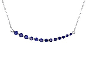 Blue Lab Created Sapphire Rhodium Over Sterling Silver Necklace .95ctw