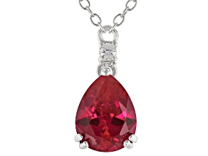 Red Lab Created Ruby Rhodium Over Sterling Silver Necklace 1.84ctw