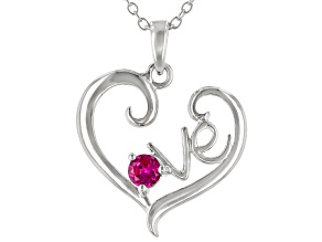 Red Lab Created Ruby Rhodium Over Sterling Silver Pendant With Chain .17ct