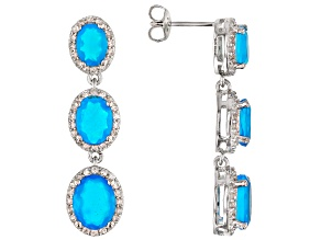 Blue Ethiopian Opal Rhodium Over Sterling Silver Earrings 3.30ctw