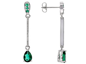 Green Lab Created Emerald Rhodium Over Sterling Silver Dangle Earrings 1.13ctw