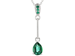 Green Lab Created Emerald Rhodium Over Sterling Silver Necklace .77ctw