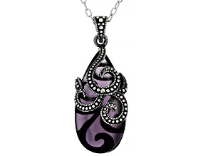 Purple Amethyst Simulant With Marcasite Sterling Silver Over Bronze Pendant With Chain