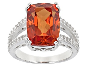 Lab Created Padparadscha Sapphire Rhodium Over Sterling Silver Ring 9.10ctw