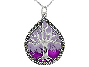 Gray Marcasite With Purple Epoxy Coloring Rhodium Over Silver Pendant With Chain 33mm x 24mm