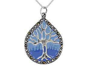 Gray Marcasite With Blue Epoxy Coloring Rhodium Over Sterling Silver Pendant With Chain 33mm x 24mm