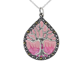 Gray Marcasite With Pink Epoxy Coloring Rhodium Over Sterling Silver Pendant With Chain 33mm x 24mm