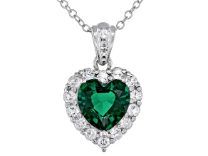 Green Lab Created Emerald Platinum Over Sterling Silver Pendant With Chain. 1.88ctw