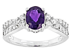 Purple Amethyst Rhodium Over Sterling Silver Ring 2.55ctw