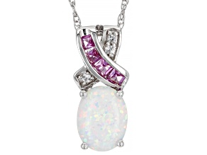 White Lab Created Opal Rhodium Over Sterling Silver Pendant With Chain .33ctw