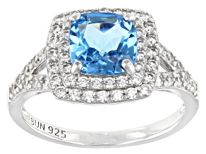 Swiss Blue Topaz Rhodium Over Sterling Silver Ring. 2.75ctw