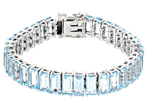 Sky Blue Topaz  Rhodium Over Sterling Silver Bracelet 67.68ctw
