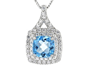 Swiss Blue Topaz Rhodium Over Sterling Silver Pendant With Chain 2.62