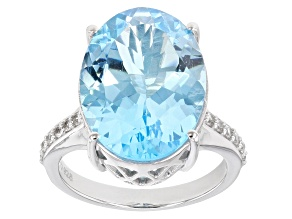 Sky Blue Topaz Rhodium Over Sterling Silver Ring 15.76ctw