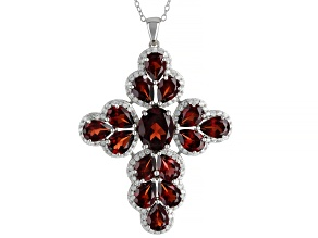 Red Garnet Rhodium Over Sterling Silver Pendant with Chain 9.25ctw