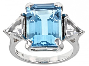 Blue Topaz Rhodium Over Sterling Silver Ring 10.10ctw