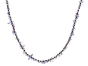 Blue Tanzanite With Black Spinel Rhodium Over Sterling Silver Necklace Approximately 4-5mm